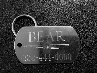 "STAINLESS STEEL  ""GI"" size Dog Tag for Active Dogs  - Custom Diamond Engraved"