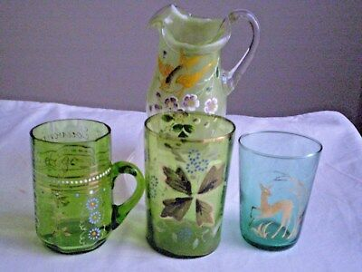 Antique Victorian Green & Blue Glass X 4 Pcs.beakers And Jug Hand Enamelled