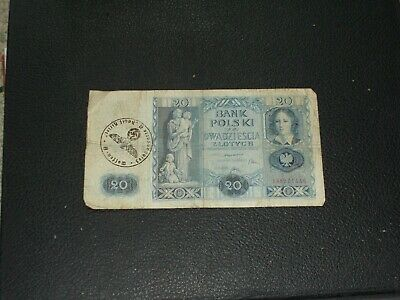 1936 Poland Bank Note Nazi Occupation Stamped Over Ink Waffen SS
