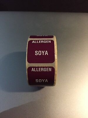25mm SQUARE COLOURED FOOD ALLERGEN ALLERGY LABELS DAIRY NUTS SOYA GLUTEN FREE