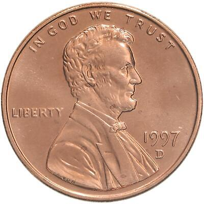 1997 D Lincoln Memorial Cent BU Penny US Coin