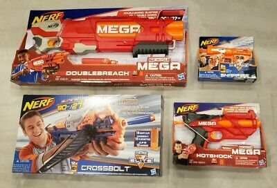 Lot of 4 - NERF N-STRIKE GUN MEGA HOTSHOCK / DOUBLEBREACH & SNAPFIRE / CROSSBOLT