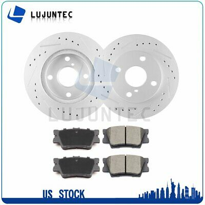 Rear Brake Discs Rotors and Ceramic Pads For Toyota Rav4 2006 - 2017 Slotted