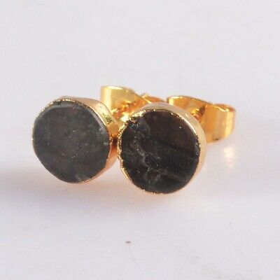 8mm Round Natural Labradorite Stud Earrings Gold Plated T074950