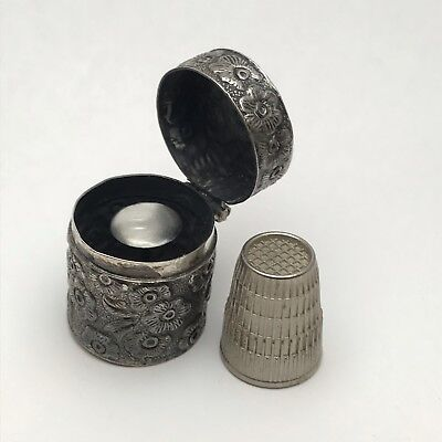 Antique Sterling Silver Repousse Floral Thimble Case And Thimble