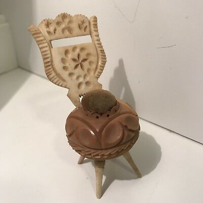 Victorian Vegetable Ivory Footed Pin Cushion in Form of Chair w Removable Lucet