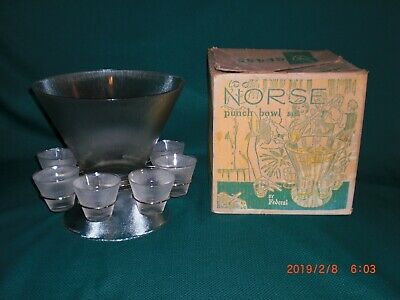 Vintage Mid Century Modern Federal Norse Punch Bowl Set A-20 in box - VGUC