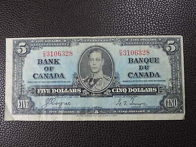 1937 $5 Dollar Bank Note Canada C/S3106328 Coyne - Towers F-VF Grade George VI