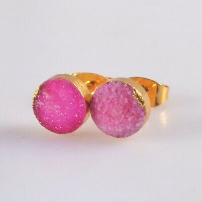 8mm Round Hot Pink Agate Druzy Geode Stud Earrings Gold Plated T074956
