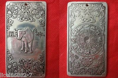 Old Chinese tibet Silver Chinese Zodiac cow Bullion thanka amulet thangka