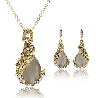 Women's Rhinestone Opal Waterdrop Pendant Necklace Earrings Jewelry Set