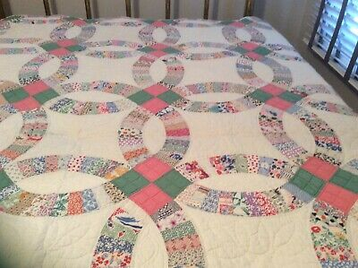 Wedding Ring Quilt Dated 1930 Excellent Colorful
