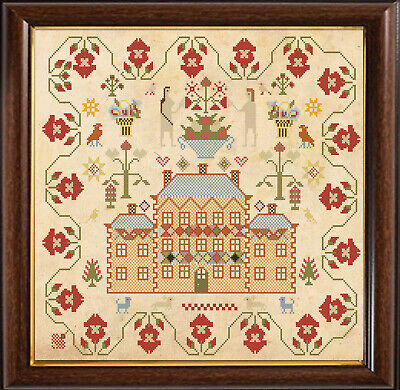 Cross Stitch Sampler Antique 18th Century Reproduction Counted Chart PDF & Print
