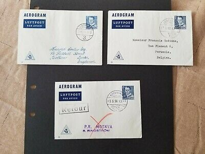 Denmark, Danmark lot of 3 used aerogrammes, Fabrication nos. 10,12 and 13