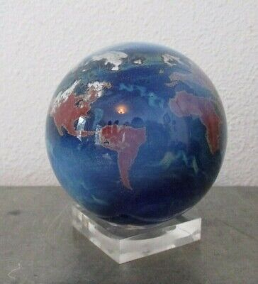 1990 Lundberg Studios World, Globe, Earth Art Glass Paperweight  GORGEOUS!