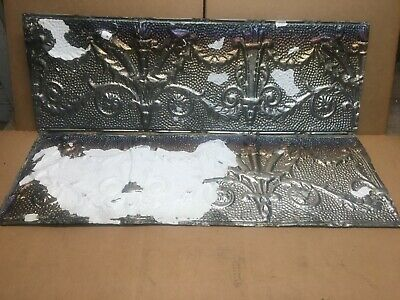 "2pc Lot of 36"" by 12"" Antique Ceiling Tin Vintage Reclaimed Salvage Art Craft"