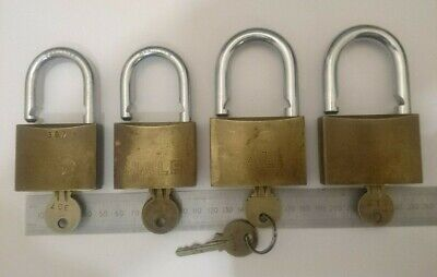 x4 Yale 700 Series Commercial Brass Padlocks Steel Shackle - 60mm (x2) 50mm (x2)