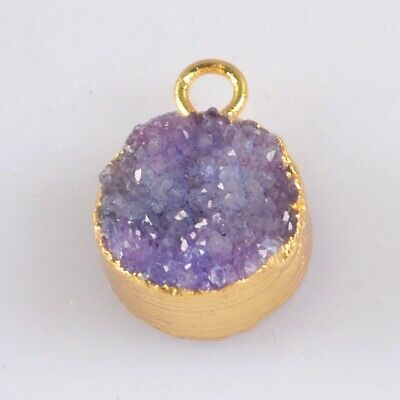 10mm Round Purple Agate Druzy Geode Charm One Bail Gold Plated B077847