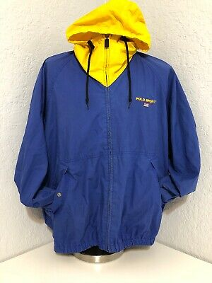 Men S Vintage Polo Sport Ralph Lauren Zip Up Hoodie Jacket Sz L Blue