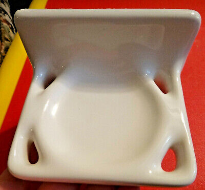 Vintage Mid Century Modern White Ceramic Bath 1950's Toothbrush Holder Gilmer TX
