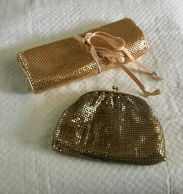 Gold Mesh Money Purse pls Gold Mesh Jewellery Holder pre Loved not matching set