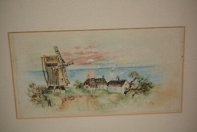 Antique Vintage Drawing Windmill & Cottages Framed