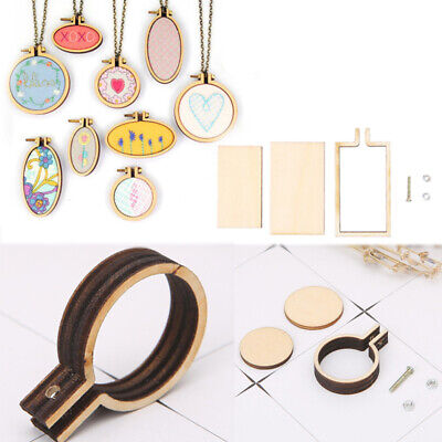 Mini Embroidery Hoop Cross Stitching Wooden Frame DIY Earrings Necklace Crafts