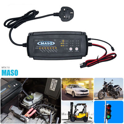 MASO 12V 2/4/8A 7-stage Multi Function smart Lead Acid Battery Charger UK