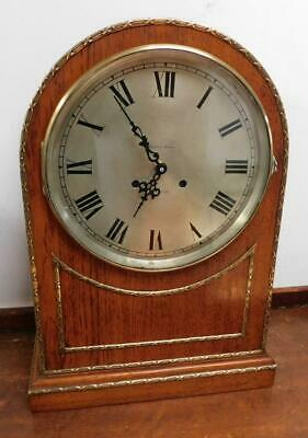 large oak & brass bracket clock, battery