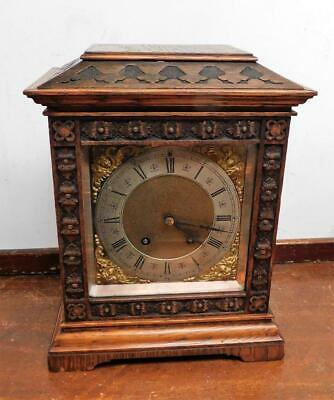 carved oak cased lenzkirch bracket clock