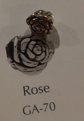 Authentic Chamilia Sterling Rose Charm Bead Brand New Mint Condition