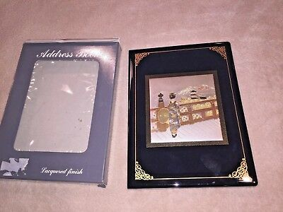 Japanese Black Gold Lacquered Finish Etched Address Book Unused in Box