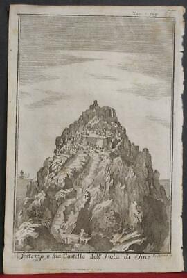Exobourgo Castle Tinos Greece 1739 Salmon Unusual Antique Copper Engraved View