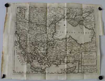 Greece Cyprus Turkey Balkans 1739 Tirion Unusual Antique Copper Engraved Map