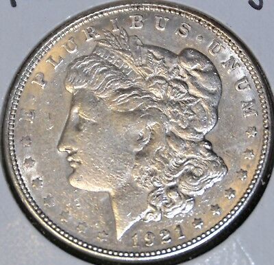 AU Almost Uncirculated 1921-D MORGAN SILVER DOLLAR $1 COIN - Details, Damaged