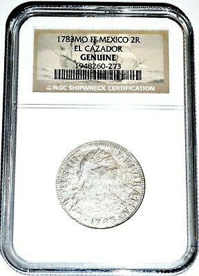 1783 MO F 2 Reales El Cazador Shipwreck Coin,NGC Certified,Excellent Condition