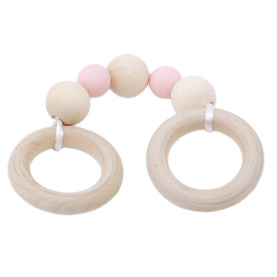 Infant Baby Teether Bracelets Silicone Wood Double Ring Teething Safety Toy Jian