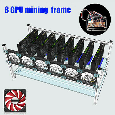 For 8 GPU ETH BTC Open Air Mining Miner Frame Rig Coin Graphics Case w/ 5 Fans