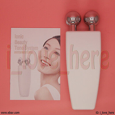 White Microcurrent Facial Neck Toner Device Reduce Lines Wrinkles Skin Tighten