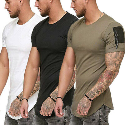 Men's Gym T Shirt Casual Crew Neck Short Sleeve Sports Top Tee Slim Fit