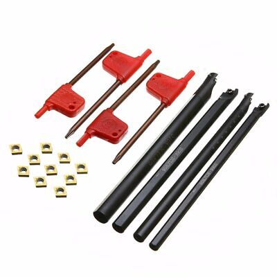 4pcs 6/7/8/10mm SCLCR06 Turning Tool Holder Lathe Boring Bar With 10pcs CCMT0602