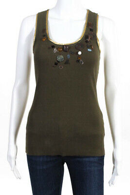 5a234ad780b0c Rozae Nichols Green Cotton Ribbed Embellished Tank Top Size Small