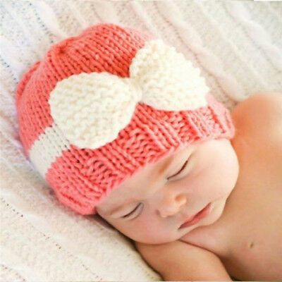 Woolen Hat Baby Spell Color Big Bow Hat Beanies Newborn Photography Prop CapJian