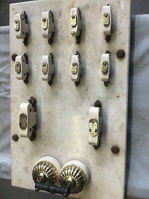 Vintage electrical marble back and ceramic master switch and multi fuse board
