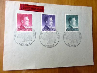 EBS Generalgouvernement 1943 Hitler's 54th Birthday set Michel 101-103 on cover