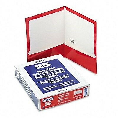 Oxford Laminated Twin-Pocket Folders, Letter Size, Red, Holds 100 Sheets, Box o
