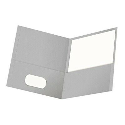 Oxford Twin-Pocket Folders, Textured Paper, Letter Size, Gray, Holds 100 Sheets