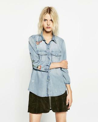 *ZARA* EUC Premium Denim Collection VIntage Wash embroidered shirt Flower M