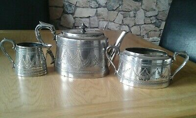 Antique Silver Plated Teapot sugar and milk jug by James Dixon and son