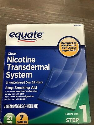 Equate Nicotine Step 1 21 mg 7 Clear Patches Expires 02/2020 New Sealed!
